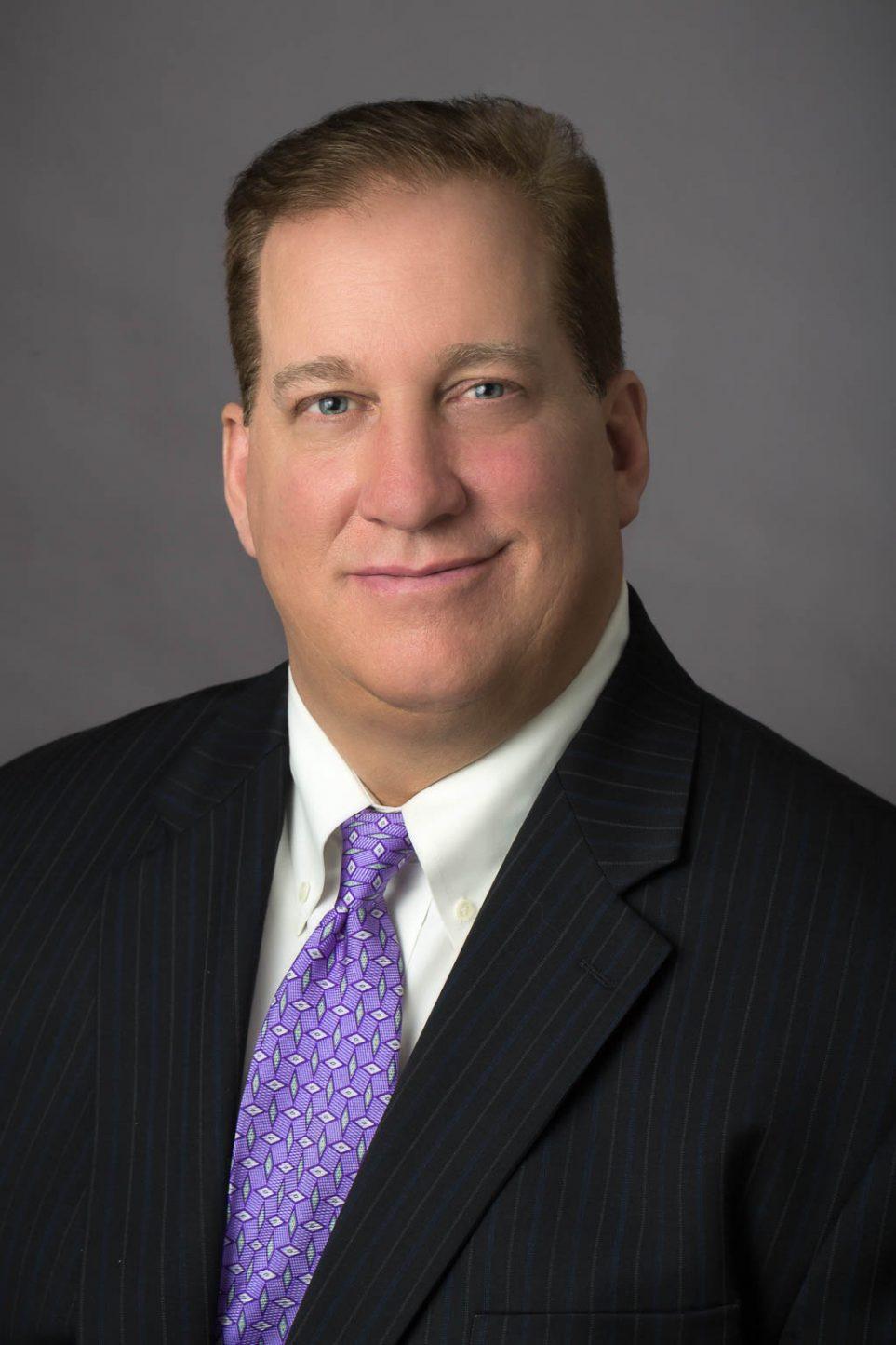 Male Portrait Gray Background Purple Tie